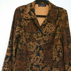 BriggsNew York Women's Sz L Brown Floral Cardigan